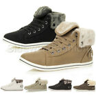 WOMENS LADIES FLAT LACE UP SPORTS HIGH HI TOP CUFF PUMPS TRAINERS SHOES SIZE