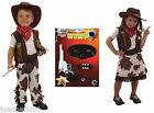 Cowboy Cowgirl Toddler Fancy Dress Fancy Dress Western Costume & Hat Ages 2 3 4