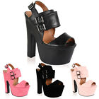 12K WOMENS CHUNKY PLATFORM BUCKLE STRAP LADIES HIGH HEELS SANDALS SHOES SIZE 3-8