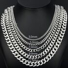 """3/5/7/9/11mm MENS Boys Stainless Steel Silver Tone Curb Cuban Necklace 18""""-36''"""