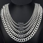 "3/5/7/9/11mm MENS Chain Boys Stainless Steel Silver Tone Curb Necklace 18""-36''"