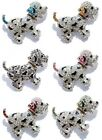 Crystal & Enamel Black Spotted Puppy Dog Silver Plate Pin Brooch ~ GIFT BOXED