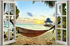 Huge 3D Window view Exotic Ocean Beach Wall Sticker Film Decal Wallpaper