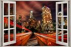 Huge 3D Window view Fantasy Night City Wall Sticker Film Mural Decal Wallpaper