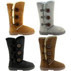 WOMENS FUR WINTER SNOW BOOTS THICK WATERPROOF SOLES 3-8