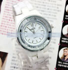 Luxury Crystal White Ceramic Mens Women Girl Silver Japan Quartz Wrist Watch New