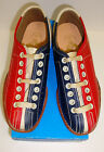 Women's Lace to Toe Bowling Shoes RH/LH Red & Blue Leather Soles FREE SHIPPING