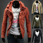 Handsome Men's Cool Casual Slim Fit Double Collar Basic Coats Outerwear Jackets