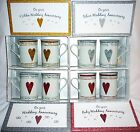 2 CHINA MUGS .PRESENTATION BOX. ANY, SILVER 25,RUBY 40 & GOLDEN 50 ANNIVERSARY