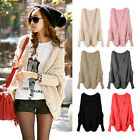 Women Casual Batwing Sleeve Knitted Cardigan Asymmetric Hem Loose Sweater Coat