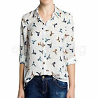 Women Lady Sexy Summer Business Chiffon Button Down Cuff Shirt Blouse Loose Tops