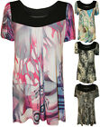 New Womens Plus Size Print Smock Ladies Short Sleeve Scoop Neck Top 14 - 28