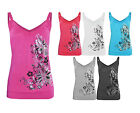Ladies Girls New Floral Print ViscoseCasual Vest Tank Top Stretch Nouvelle