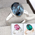 B1-R588 Fashion Solitaire Simulated Gemstone Ring 18K GP use Swarovski Crystal