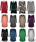 NEW WOMENS LONG SLEEVE PETER PAN STRETCHY LOOSE JERSEY SWING PLUS SIZE DRESS