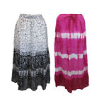 LADIES FLORAL MAXI SKIRTS COTTON SUMMER BEACH CASUAL TYE DYE LONG SKIRT 10-14