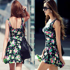 New women girls sexy casual floral summer sleeveless PARTY EVENING MINI DRESS