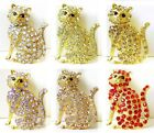 Crystal Kitty Cat Gold Plate Pin Brooch ~ GIFT BOXED