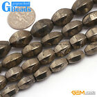 "faceted silver gary pyrite beads 15"" DIY jewelry making  8x10mm 8x12mm 10x14mm"