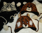 TIGER HAT knit ADULT deLux crochet SKI CAP bengal siberian white ANIMAL Costume