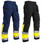 Blaklader Hi Vis Knee Pad Work Trousers with Nail Pockets (Cotton)-15291370
