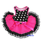 NEW Black Polka Dots Hot Pink Lace Tutu Pets Dogs Clothes Party Dress XS-L