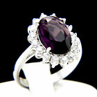 5.09 CT Solitaire Purple Amethyst CZ Engagement 925 Sterling Silver Wedding Ring