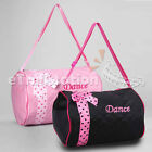 Внешний вид - Girls Dance Duffle Bag Kids Quilted Ribbon Polka Dots Light Pink Black Totes Bag