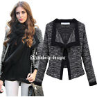 jk37 Celebrity Style Classic Open Front Fitted Semi Crop Tweed Blazer Jacket