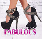 SEXY WOMEN'S SHOES LADIES PARTY EVENING CLUBBING STRAPPY HIGH HEELS GOLD STUDS
