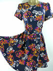 NEW LOOK RETRO TEA DRESS NAVY BLUE FLORAL SKATER FIT & FLARE 6 8