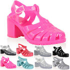 DD14 WOMENS JELLY LADIES RETRO BEACH FLIP FLOP SUMMER HEEL SANDAL SHOES SIZE 3-8