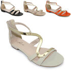 Women's Small Heel Strappy Summer Gold Stripe Gladiator Ladies Shoes Sandals