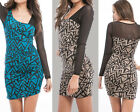 Stretch Bodycon Sleeve Asymmetric Geometric Print Dress Above Knee Mini S, M, L