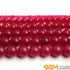 Smooth Round Plum Jade Jewelry Making Loose Gemstone beads strand 15""