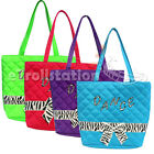 Stylish Girls Kids Nylon Dance Tote Bag w/ Quilted Zebra Pattern Bow Ribbon NEW