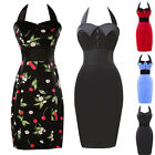 Cotton Celebrity Grace Karin JS Vintage Wear to Work Halter Pencil Short Dresses