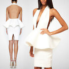 Womens White BACKLESS Bandage Deep Plunge Deep V Cut Halter Neck Party Dress