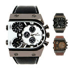 New Mens Military Army Three Time Zones Movements Quartz Watch Leather Sports C8