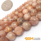"Natural Sunstone Gemstone Faceted Round Beads For Jewelry Making 15"" 4mm 6mm 8mm"