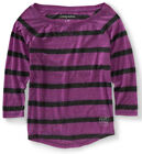 NEW Aeropostale Womens Heathered 3/4 Sleeve Striped Tee Shirt Top Blouse Sz XXL