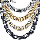 5mm Men Chain Silver Gold Black Tone Stainless Steel Byzantine Box Link Necklace