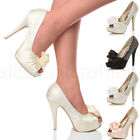 WOMENS LADIES EVENING WEDDING PROM PARTY HIGH HEEL PLATFORM SHOES PUMPS SIZE