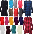 WOMENS TARTAN LEOPARD TIGER PRINT LONG SLEEVE LADIES SWING DRESS TUNIC TOP 8-26