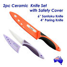 2pc Ceramic Knife Set with Cover Ultra Sharp Durable Kitchen Cutlery Oz Stock