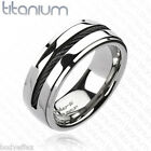HOT MENS SOLID TITANIUM SILVER ETERNITY ROPE BLACK CHAIN INLAY WEDDING BAND RING