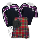 Kilt Outfit 'Sports Essential' - Purple Stripe Rugby Top - Stewart Royal