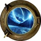 Huge 3D Porthole Enchanted Mountain River View Wall Stickers Film Decal Wallpape