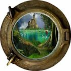 Huge 3D Porthole Enchanted Castle View Wall Stickers Mural Art Decal Wallpaper