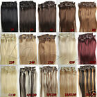 "NEW 15""18""20""22"" 7PCS Clip In Remy Human Hair Extensions All Color US Full Head"